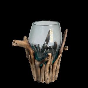 Bali-Vase Windlicht auf Treibholz