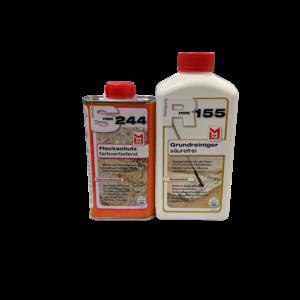 S244 – Fleck Schutz Imprägnierung – farbvertiefend 0,25L & Grundreingiger 0,5L SET