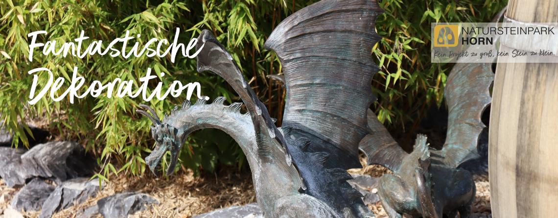 Fantastische Drachen Figuren für den Garten